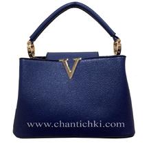 Мини дамска чанта в тъмно синьо