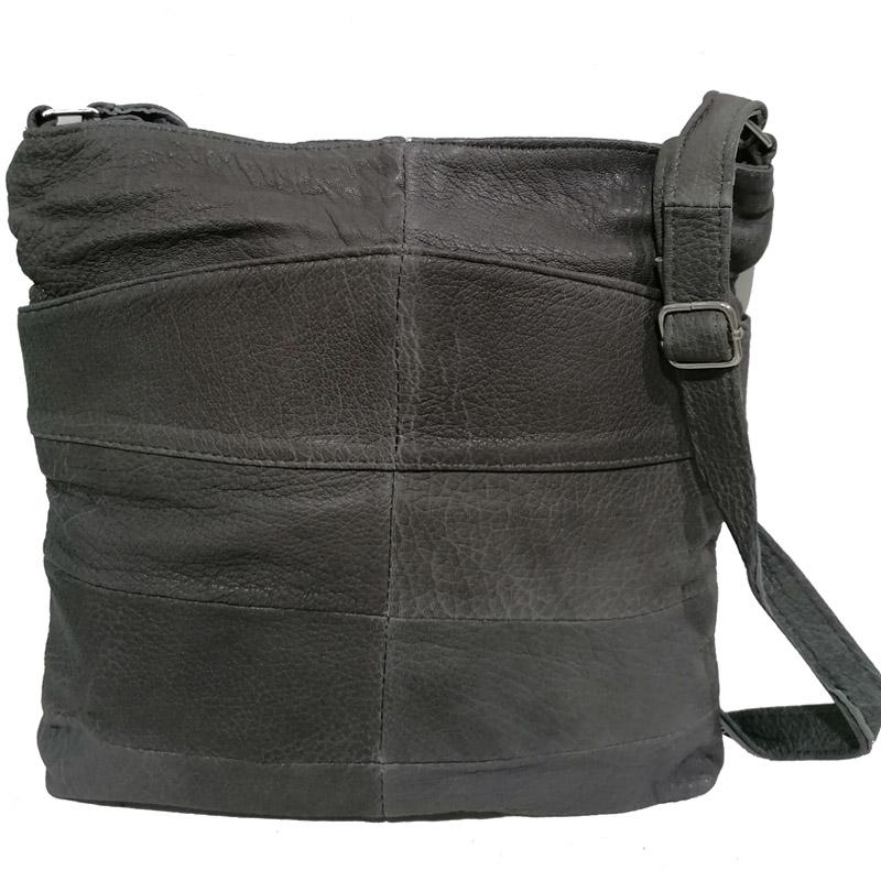 Дамска чанта през рамо - естествена кожа в сиво