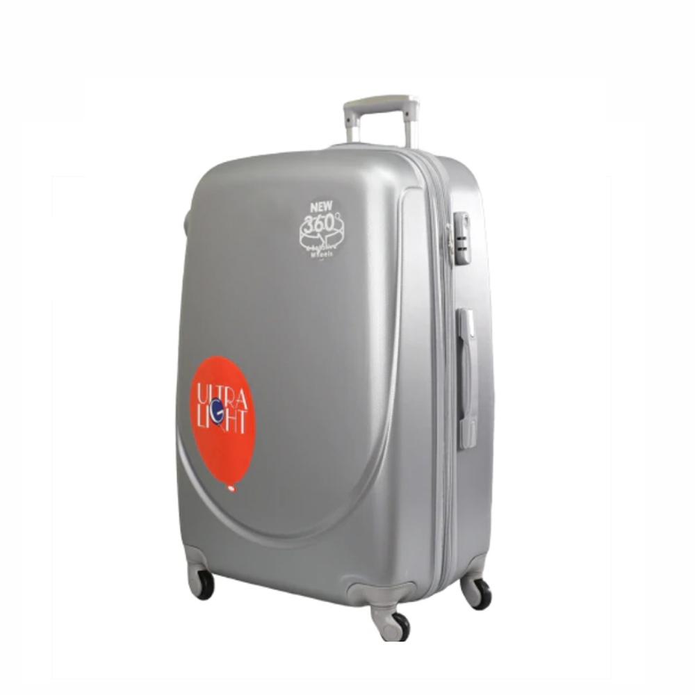 Куфар ABS - среден , 65/27/44 , С разширител , светло сив/сребрист