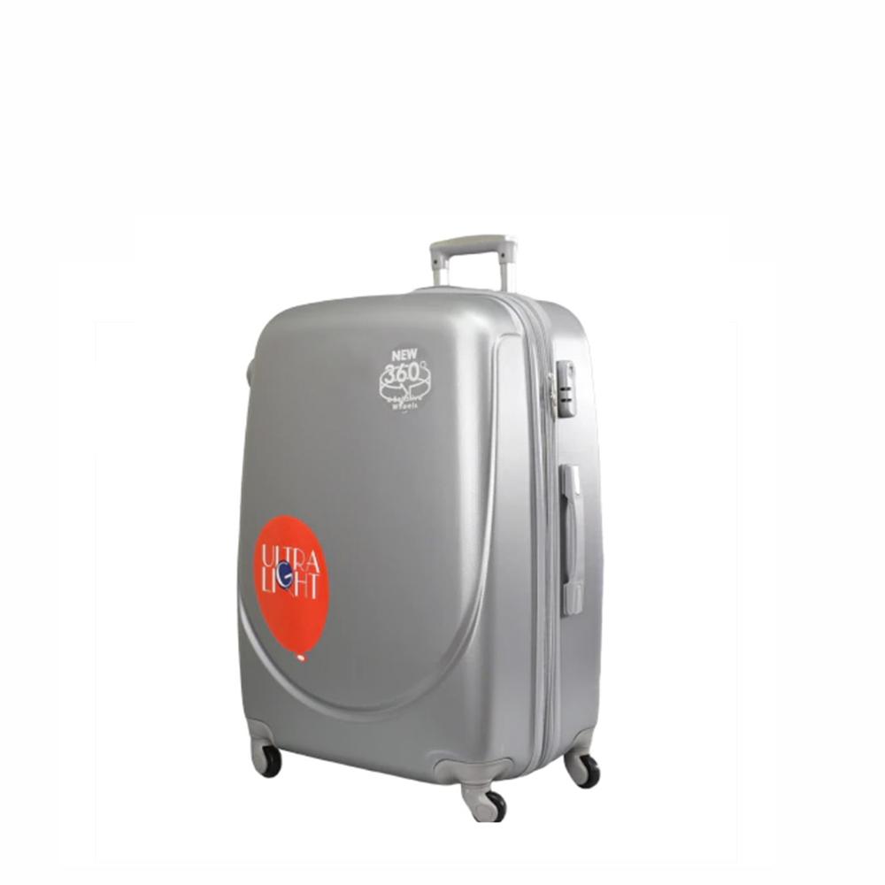 Куфар  ABS - малък , 55/24/38 , С разширител , светло сив/сребрист