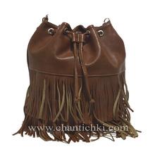 Модерна дамска чанта -раница с ресни в кафяво