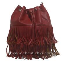 Модерна дамска чанта- раница с ресни в червено