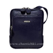 Мъжка чанта в тъмно синьо - естествена кожа